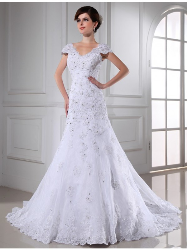 Exquisite A-Line V-neck Cut Organza Long Wedding Dresses With Beading