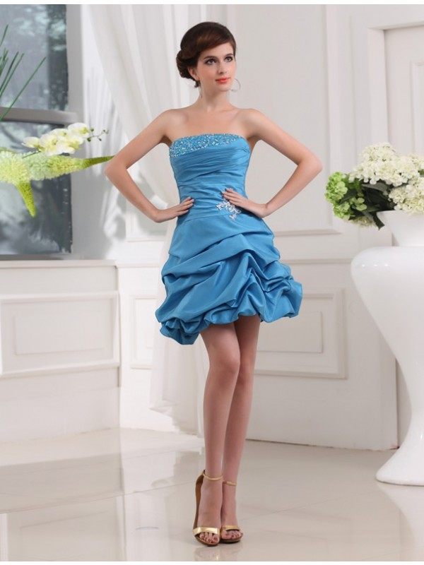 Exquisite A-Line Strapless Cut Taffeta Short Dresses With Beading