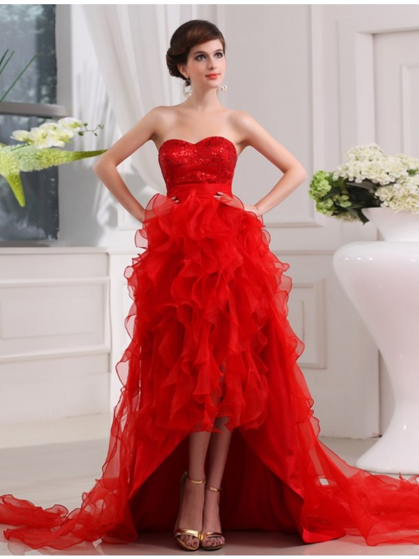 Dreamlike A-Line Sweetheart Cut Organza High Low Dresses With Sequin