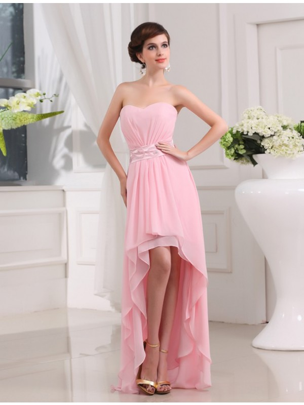 Brilliant A-Line Sweetheart Cut Chiffon High Low Dresses With Beading