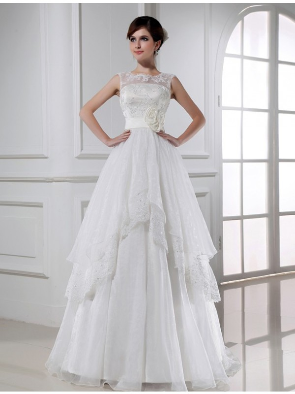 Special A-Line High Neck Cut Lace Long Wedding Dresses With Beading