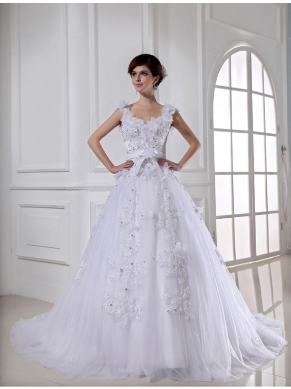 Dreamlike Ball Gown Straps Cut Tulle Long Wedding Dresses With Beading