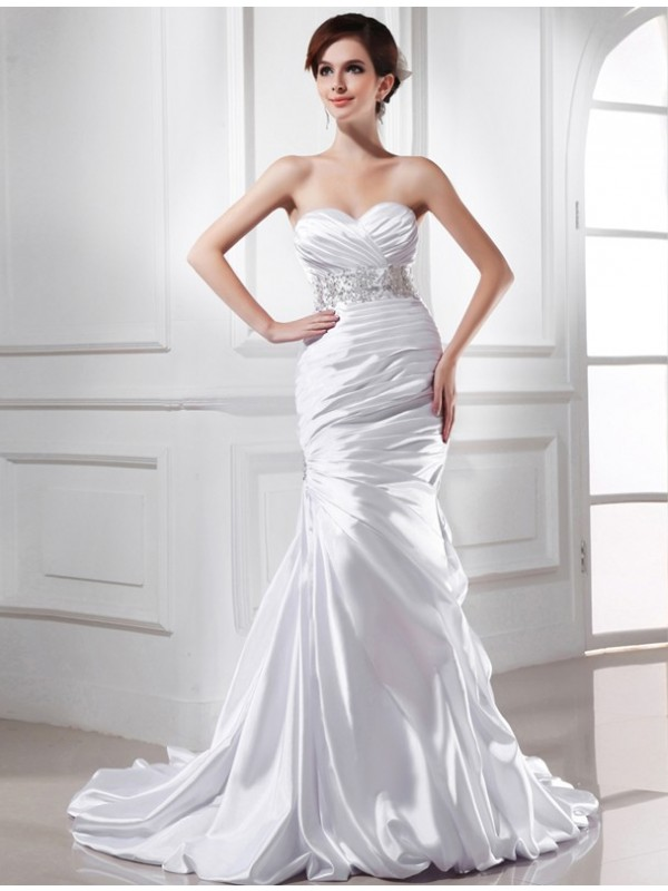 Modern Mermaid Sweetheart Cut Elastic Woven Satin Long Wedding Dresses With Beading