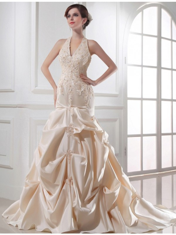 Radiant Mermaid Halter Cut Satin Long Wedding Dresses With Applique