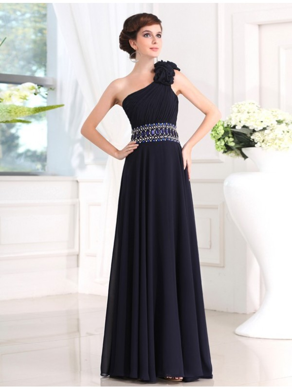 Graceful Sheath One-Shoulder Cut Chiffon Long Dresses With Beading