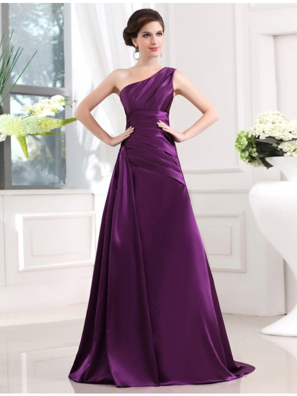 Stylish A-Line One-Shoulder Cut Elastic Woven Satin Long Dresses With Pleats
