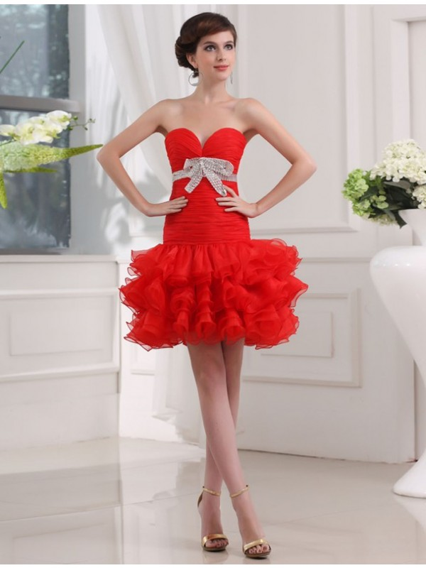 Unique A-Line Sweetheart Cut Organza Short Dresses With Beading