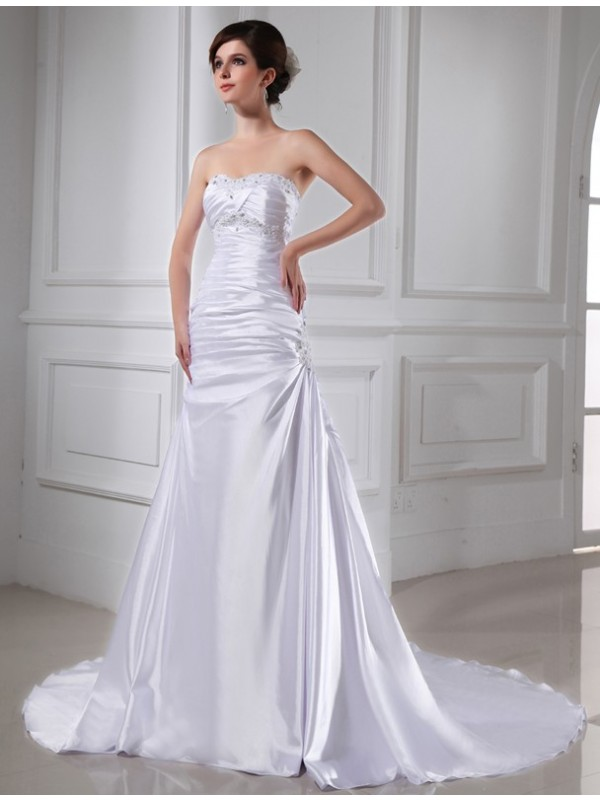 Elegant A-Line Strapless Cut Elastic Woven Satin Long Wedding Dresses With Beading