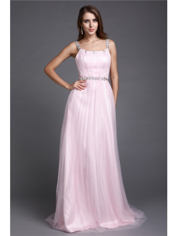 Lovely A-Line Spaghetti Straps Cut Net Long Dresses With Rhinestone