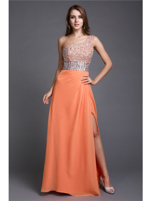 Shining Sheath One-Shoulder Cut Chiffon Long Dresses With Beading
