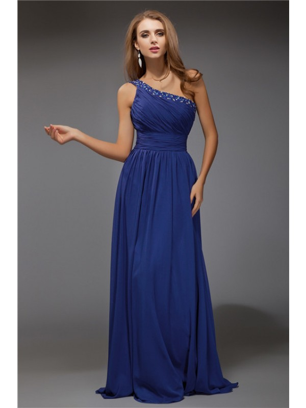 Attractive Sheath One-Shoulder Cut Chiffon Long Dresses With Beading