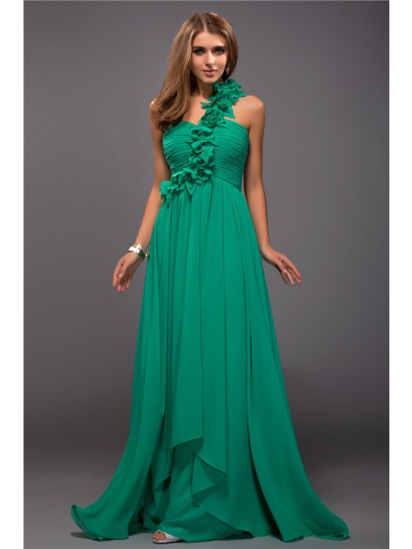 Gorgeous Sheath One-Shoulder Cut Chiffon Long Dresses With Ruffles