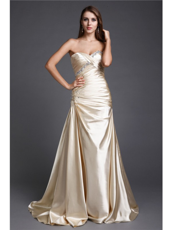 Nice A-Line Sweetheart Cut Elastic Woven Satin Long Dresses With Beading