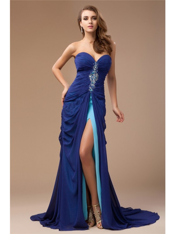 Special Sheath Sweetheart Cut Chiffon Long Dresses With Beading