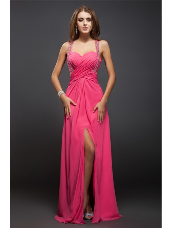 Charming Sheath Straps Cut Chiffon Long Dresses With Ruffles