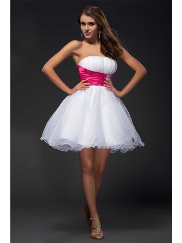 Graceful A-Line Strapless Cut Organza Short Dresses With Beading