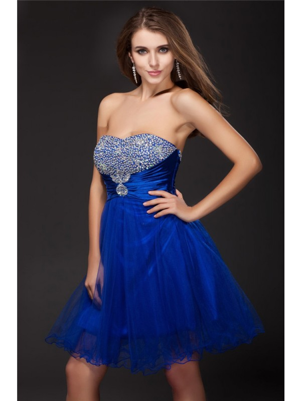 Romantic A-Line Strapless Cut Net Short Dresses With Beading