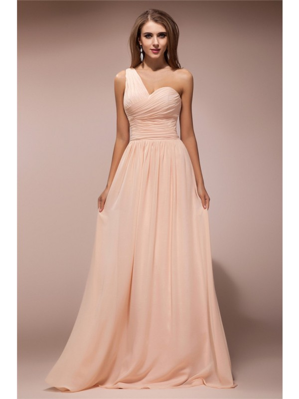 Delicate Sheath One-Shoulder Cut Chiffon Long Dresses With Ruffles