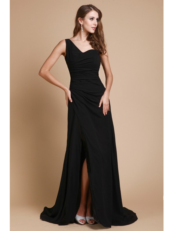 Bright A-Line One-Shoulder Cut Chiffon Long Dresses With Ruffles