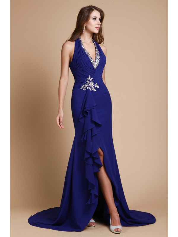Exquisite Mermaid V-neck Cut Chiffon Long Dresses With Beading