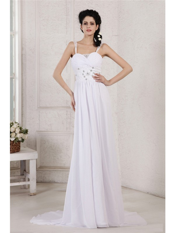 Awesome Sheath Spaghetti Straps Cut Chiffon Long Wedding Dresses With Pleats