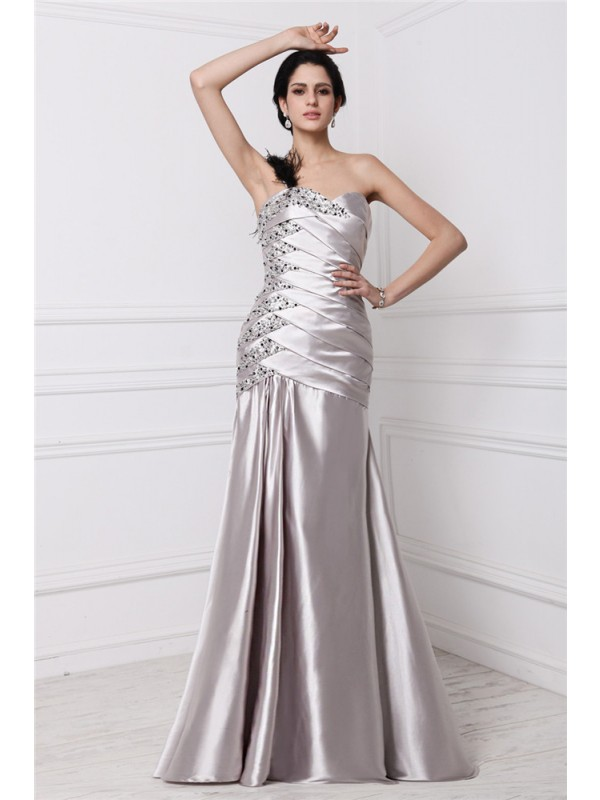 Dreamlike A-Line Sweetheart Cut Elastic Woven Satin Long Dresses With Pleats