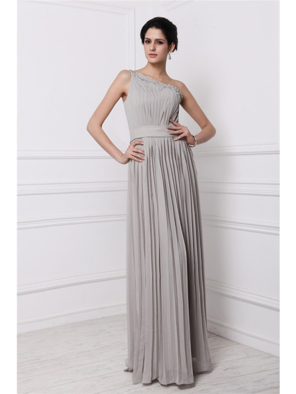 Unique Sheath One-Shoulder Cut Chiffon Long Dresses With Beading
