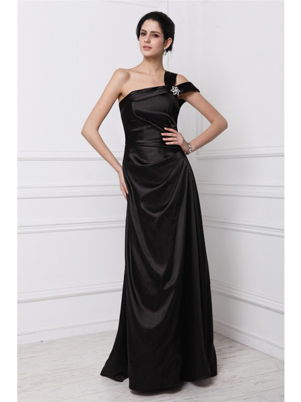 Modern Sheath One-Shoulder Cut Elastic Woven Satin Long Dresses With Beading