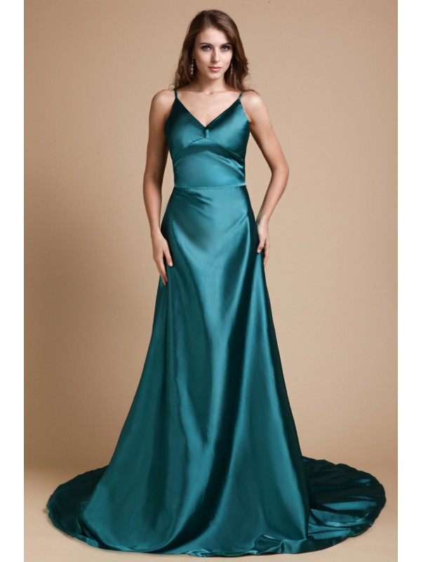 Stunning A-Line Spaghetti Straps Cut Elastic Woven Satin Long Dresses With Ruffles