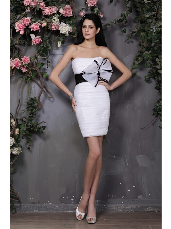 Attractive Sheath Strapless Cut Organza Short Dresses With Bowknot
