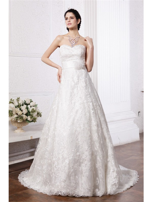 Gorgeous A-Line Sweetheart Cut Lace Long Wedding Dresses With Sash/Ribbon/Belt