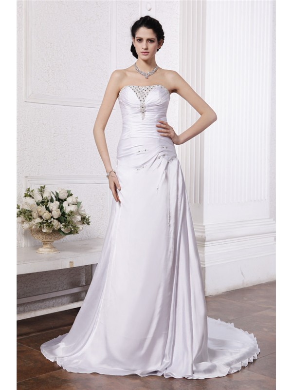 Charming A-Line Strapless Cut Silk like Satin Long Wedding Dresses With Beading