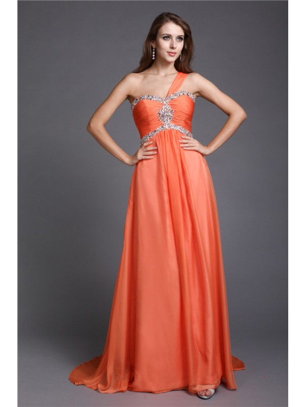 Romantic A-Line One-Shoulder Cut Chiffon Long Dresses With Beading