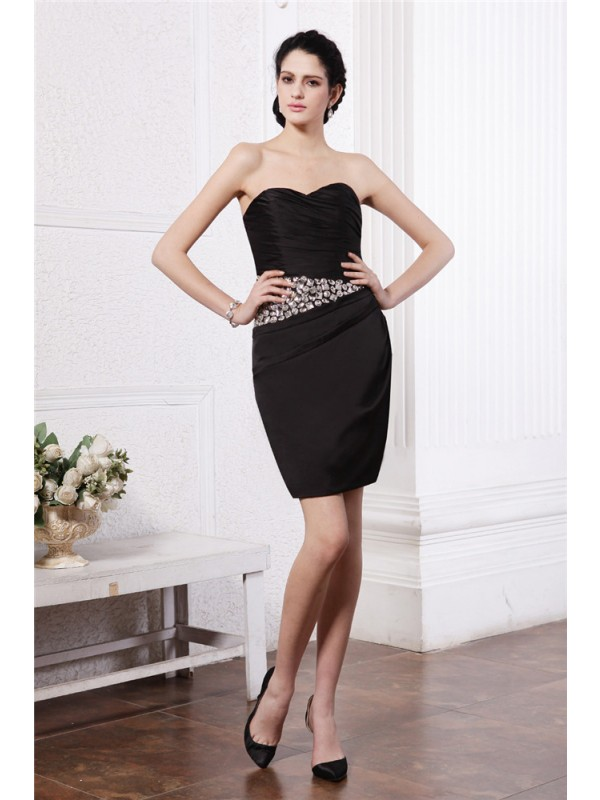 Dreamlike Sheath Sweetheart Cut Chiffon Short Dresses With Pleats