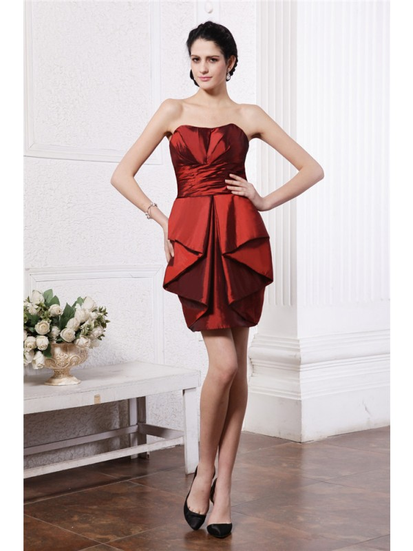 Smart Sheath Strapless Cut Taffeta Short Dresses With Pleats