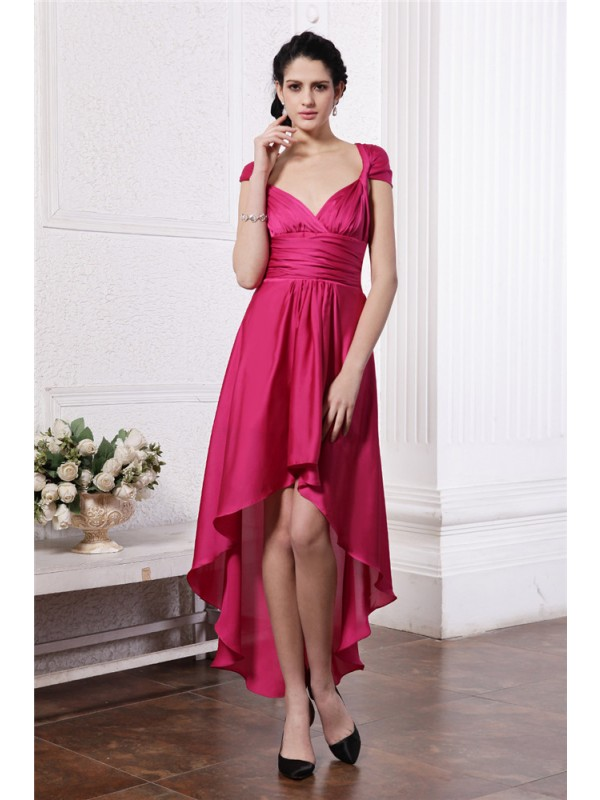 Hot Sheath Straps Cut Chiffon High Low Dresses With Pleats