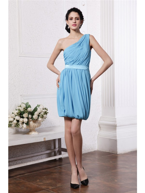 Sweet Sheath One-Shoulder Cut Chiffon Short Dresses With Pleats