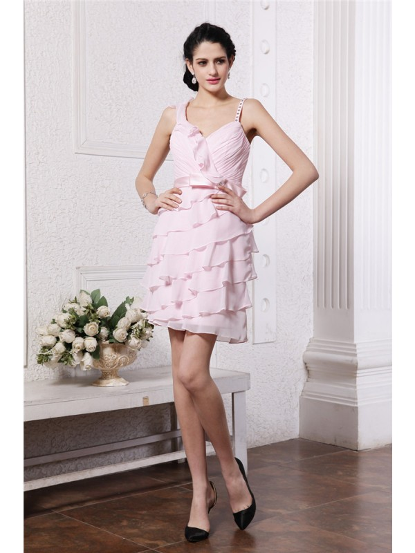 Stylish Sheath Spaghetti Straps Cut Chiffon Short Dresses With Ruffles