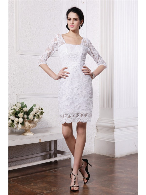 Elegant Sheath Bateau Cut Lace Short Wedding Dresses With Lace