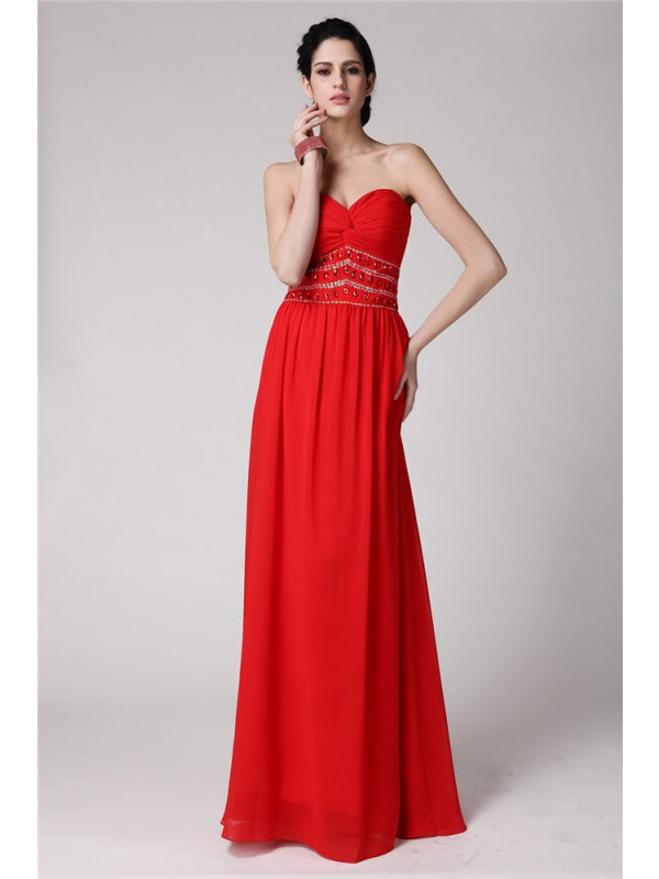 Special Sheath Sweetheart Cut Chiffon Long Dresses With Pleats
