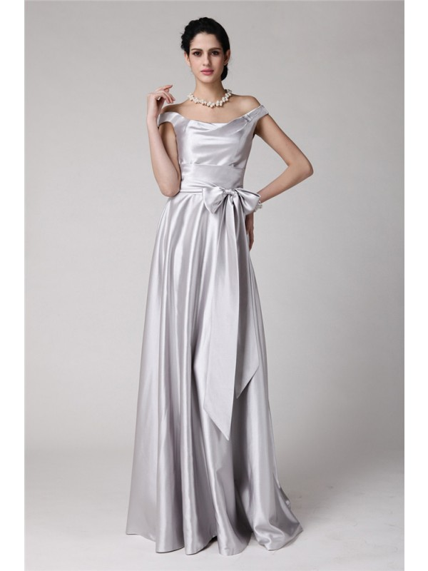 Amazing Sheath Off-the-Shoulder Cut Elastic Woven Satin Long Dresses With Sash/Ribbon/Belt