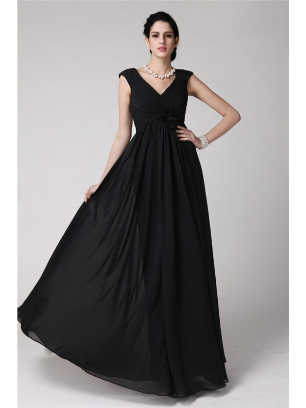 Smart Sheath V-neck Cut Chiffon Long Dresses With Pleats