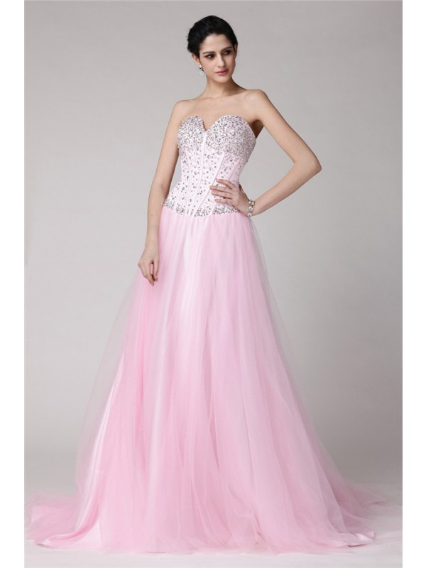 Brilliant A-Line Sweetheart Cut Net Long Dresses With Beading