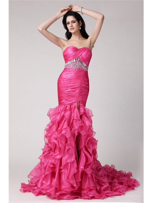 Modern Mermaid Sweetheart Cut Organza Long Dresses With Rhinestone
