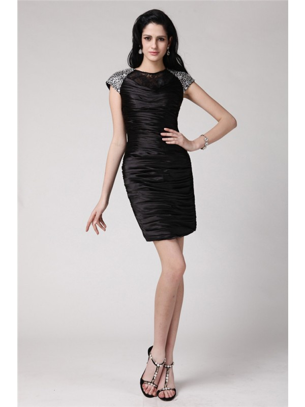 Glamorous Sheath Scoop Cut Elastic Woven Satin Short Dresses With Beading