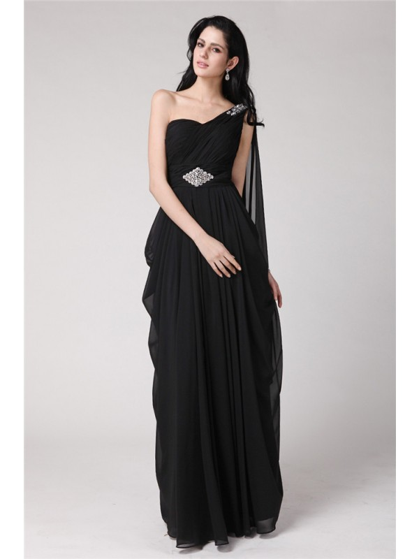 Sweet Sheath One-Shoulder Cut Chiffon Long Dresses With Beading