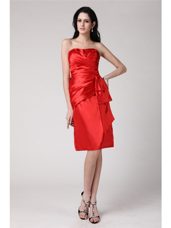 Popular Sheath Strapless Cut Elastic Woven Satin Short Dresses With Pleats