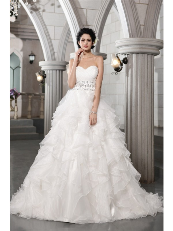 Awesome Ball Gown Sweetheart Cut Organza Long Wedding Dresses With Beading