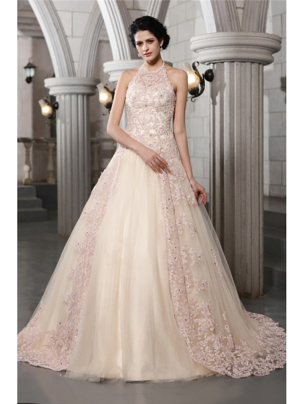 Graceful A-Line High Neck Cut Net Long Wedding Dresses With Beading