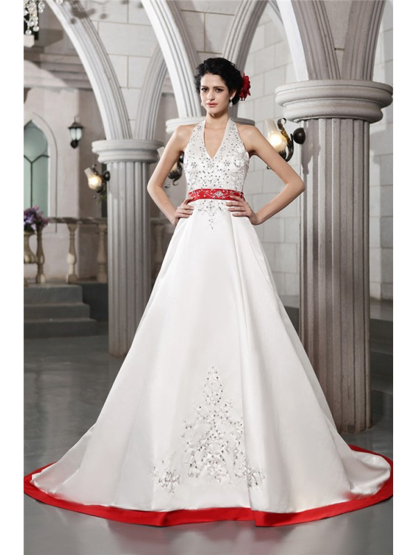 Romantic A-Line V-neck Cut Satin Long Wedding Dresses With Beading
